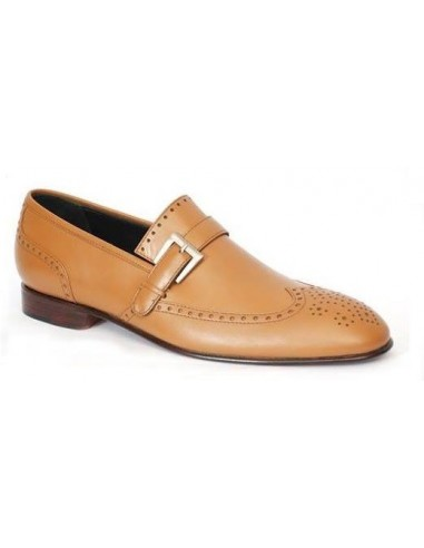 Mals Brogue Wingtip Leather Loafers With Buckle - Tan