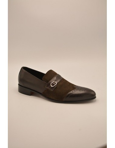 Brogue Wingtip Suede Leather Loafers With Metal Buckle - Brown