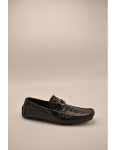 Croc Imprint Leather Metal...