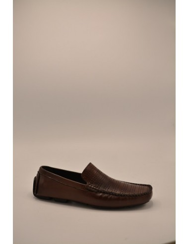 Leather Perforated Design Vamp Driving Loafer - Brown
