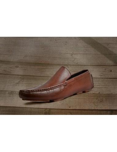 Plain Vamp Granular Leather Driving Loafer - Brown