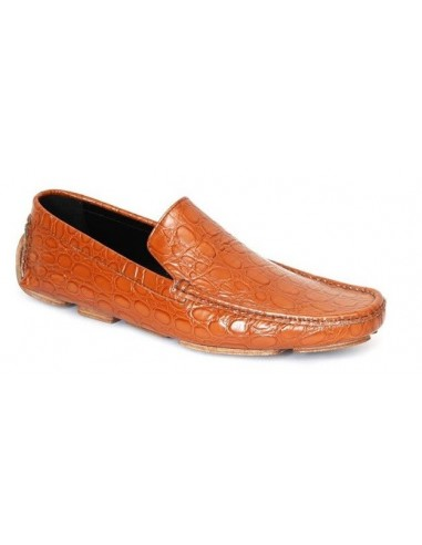 Alberlobello Plain Vamp Croc Leather Driving Loafer - Tan