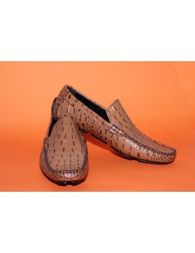 Altino Croc Imprint Leather Plain Vamp Driving Loafer - Black