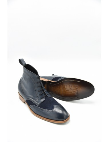 Brogue Leather Boots With Suede - Black