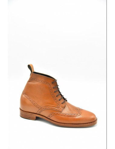 Wingtip Brogue Leather Boots - Tan