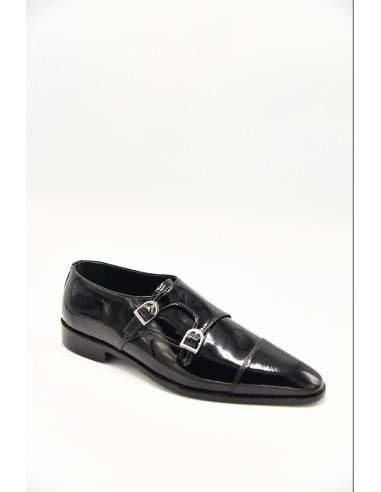Patent Double Monk With Toe Caps - Black