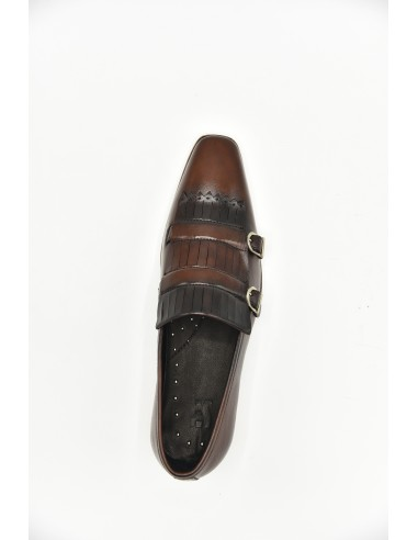 Double Monk Leather Tapered Toe -...