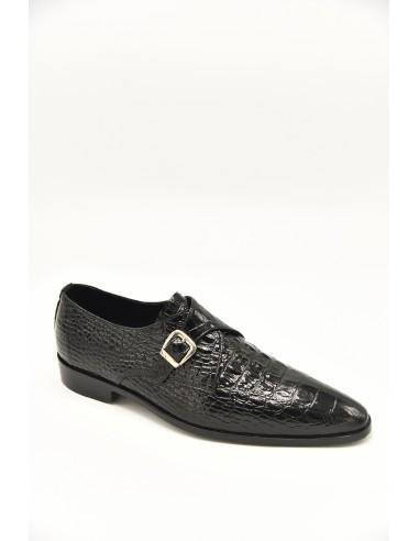 Sleek Toe Croc Imprint Leather Single...