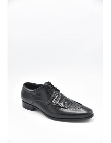 Modern Croc Imprint Leather Derby In...