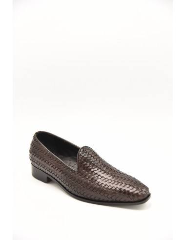 Woven Leather Tapered Toe Loafer - Brown
