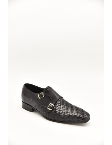Modern Woven Leather Double Monk - Black