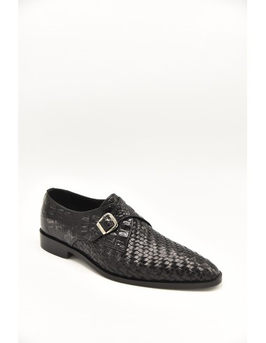 Woven Leather Sleek Toe Single Monk -...