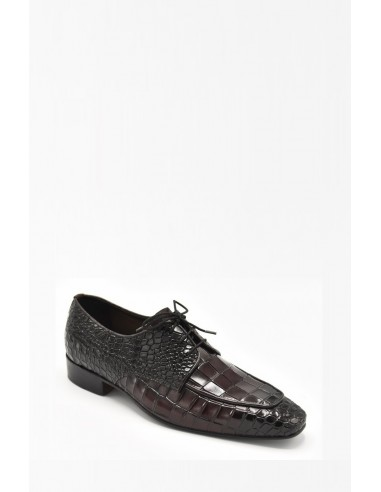 Modern Sleek Toe Derby In Croc - Brown